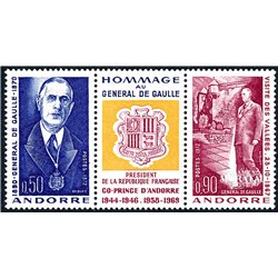 [24] 1972 French Andorra Sc 218a Charles de Gaulle  ** MNH Very Nice  (Scott)