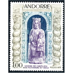 [24] 1973 French Andorra Sc 221 Virgin of Canolich  ** MNH Very Nice  (Scott)