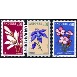 [24] 1973 French Andorra Sc 222, 224, 226 flowers  ** MNH Very Nice  (Scott)
