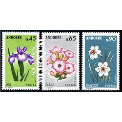 [24] 1974 French Andorra Sc 223, 225, 227 flowers  ** MNH Very Nice  (Scott)