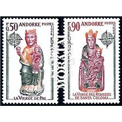 [24] 1974 French Andorra Sc 232/233 Europe CEPT. Sculptures  ** MNH Very Nice  (Scott)