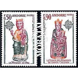 [24] 1974 French Andorra Sc 232/233 Europe CEPT. Sculptures  ** MNH Very Nice  (Scott)