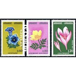 [24] 1975 French Andorra Sc 238/240 flowers  ** MNH Very Nice  (Scott)