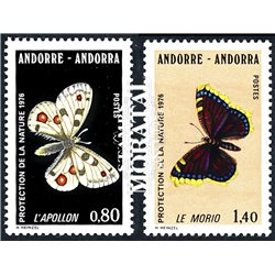 [24] 1976 French Andorra Sc 251/252 Butterflies  ** MNH Very Nice  (Scott)