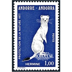 [24] 1977 French Andorra Sc 253 Ermine  ** MNH Very Nice  (Scott)