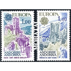 [24] 1977 French Andorra Sc 254/255 Europe CEPT. Landscapes  ** MNH Very Nice  (Scott)