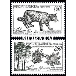 [24] 1982 French Andorra Sc  Wild Cat and Scots Pine  ** MNH Very Nice  (Scott)