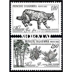 [24] 1982 French Andorra Sc  Wild Cat and Scots Pine  ** MNH Very Nice  (Scott)