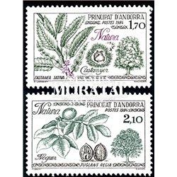 [24] 1984 French Andorra Sc  Trees. Walnut, Chestnut  ** MNH Very Nice  (Scott)