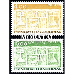[24] 1986 French Andorra Sc 348/349 Primitive Ecu of the Valleys  ** MNH Very Nice  (Scott)