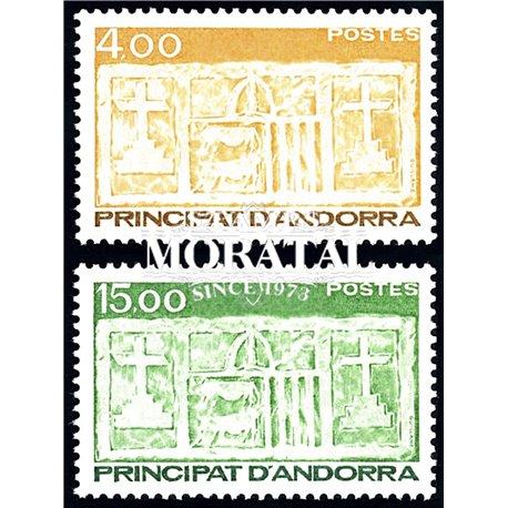 [24] 1986 French Andorra Sc 348/349 Primitive Ecu of the Valleys  ** MNH Very Nice  (Scott)