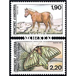 [24] 1987 French Andorra Sc  Horse and Butterfly  ** MNH Very Nice  (Scott)