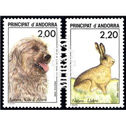 [24] 1988 French Andorra Sc  Dog and Hare  ** MNH Very Nice  (Scott)