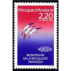 [24] 1989 French Andorra Sc  French Revolution  ** MNH Very Nice  (Scott)