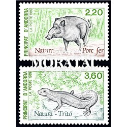 [24] 1989 French Andorra Sc  Wild boar and Triton  ** MNH Very Nice  (Scott)