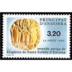 [24] 1990 French Andorra Sc  Santa Eulalia coin  ** MNH Very Nice  (Scott)