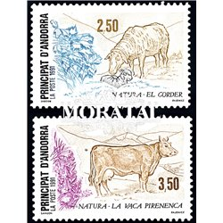 [24] 1991 French Andorra Sc  The sheep, the cow  ** MNH Very Nice  (Scott)