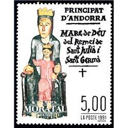 [24] 1991 French Andorra Sc  Virgin of Sant Julia  ** MNH Very Nice  (Scott)