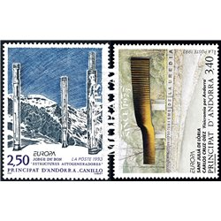 [24] 1993 French Andorra Sc  Europa CEPT Jorge Dubon y Carlos Cruz-Diez  ** MNH Very Nice  (Scott)
