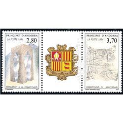 [24] 1994 French Andorra Sc  Andorra Constitution  ** MNH Very Nice  (Scott)