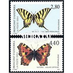 [24] 1994 French Andorra Sc  Butterflies  ** MNH Very Nice  (Scott)
